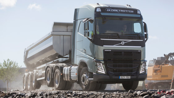 The Volvo chassis features the new Tandem Axle Lift